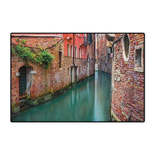 Venice,Door Mat Non Slip,Scenic Water Canal and Old Historic Buildings Houses Brick Walls,Floor Mat for Tub,Orange Dark Coral Jade Green,Size,32x48 (W80cm x L120cm)