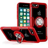 Phone SE 2020 Case, iPhone 8 Case, iPhone 7 Case,Crystal Clear Carbon Fiber Design Armor Protective Case with 360 Degree Rotation Finger Ring Grip Holder Kickstand for Apple iPhoneSE 2/8/7,Red