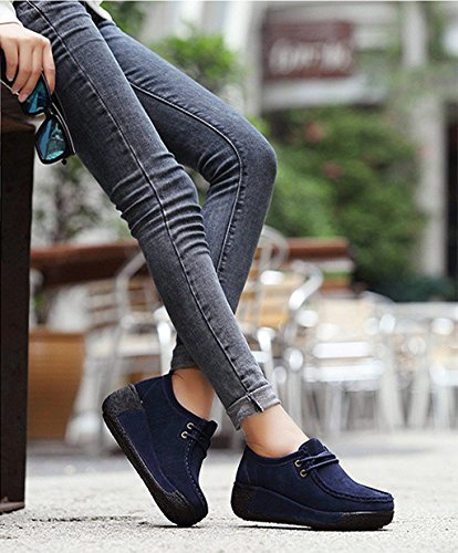 Blue Creeper Shoes Wedge Loafers Leather Heel Winter Women's Platform Espadrille Sneaker Real XPqBO
