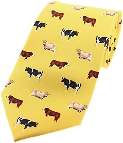 Yellow Cow Breeds Country Silk Tie by David Van Hagen