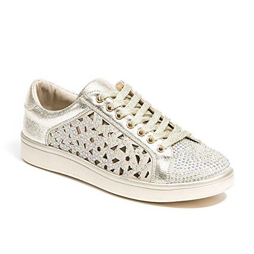 Sneaker Da Donna Taglio Laser Couture Con Strass, Scarpe Da Donna, Oro Parigi