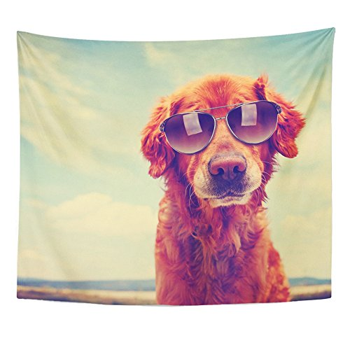 - Emvency Tapestry Mandala 60x80 inch Home Decor Animal Cute Golden Retriever Toned with Retro Vintage with Sunglasses On Dog Eyewear for Bedroom Living Room Dorm