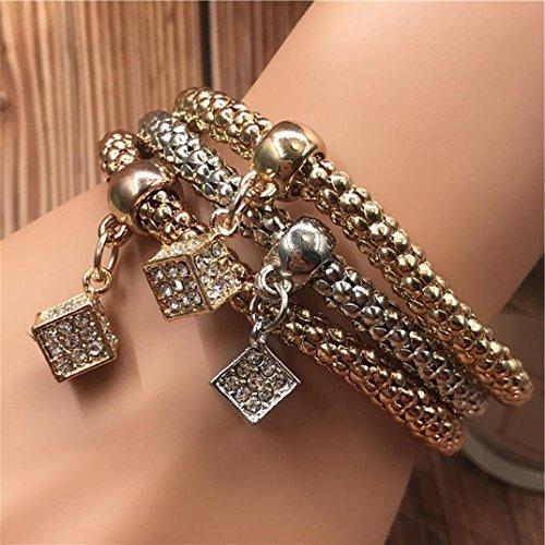 - Sinwo 3pcs Women Fashion Multilayer Handmade Hollow Pendant Bracelet Bangle Gift (Multicolor)