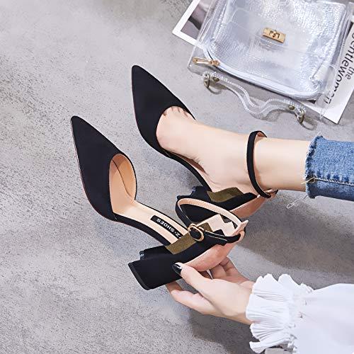 Stiletto Autumn Yukun Shoes Black Versatile Single Show Black Car High Pointed Single Girl heels Burgundy High 38 Heels H0fq1