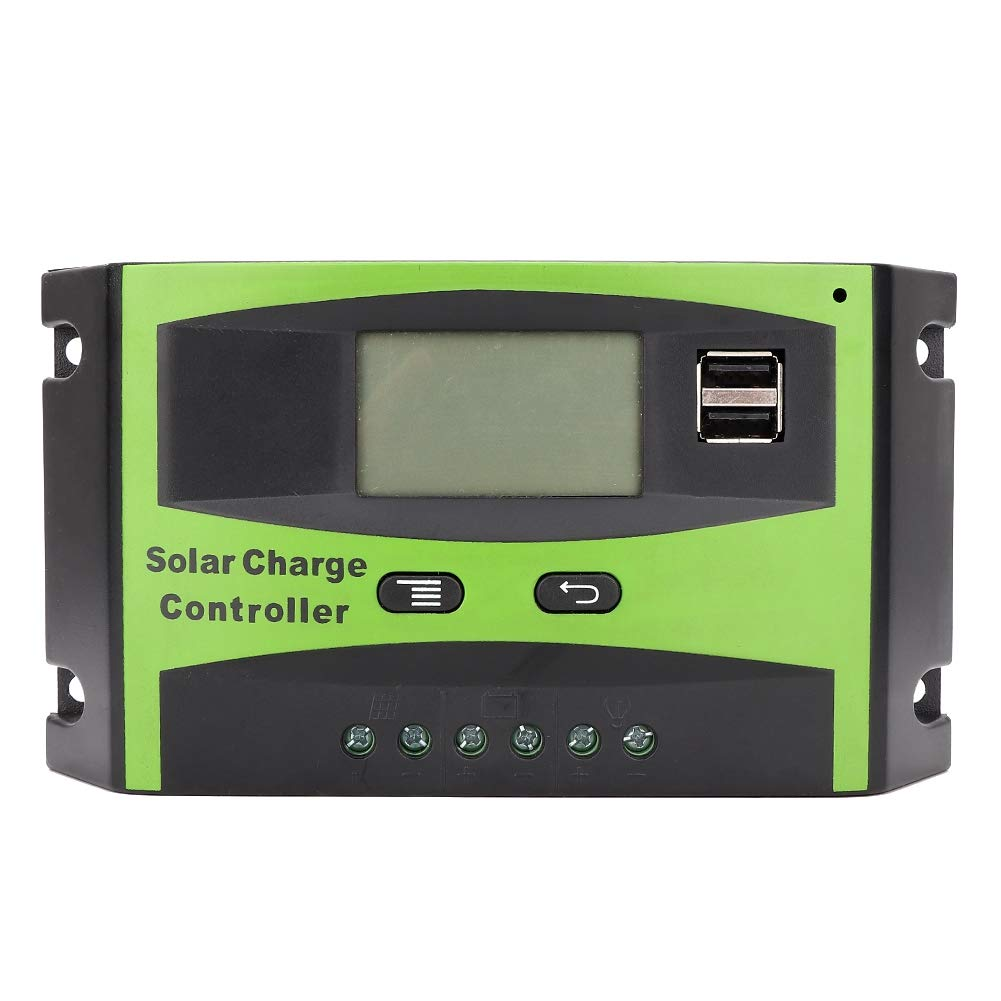 Suuonee Solar Charge Controller, 12V/24V 30A MPPT Solar Charge Controller Solar Panel Charge Regulator Dual USB Port LCD Display