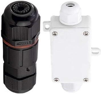 Juego de conectores redondos con caja de conexión y conector IP65.: Amazon.es: Bricolaje y herramientas