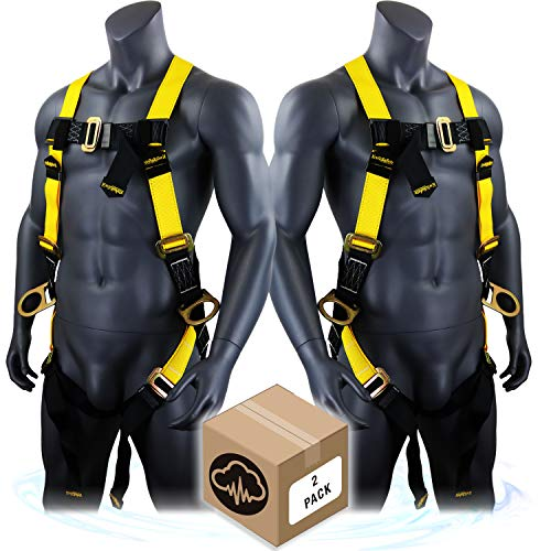 KwikSafety (Charlotte, NC) THUNDER 2 PACK 3D Ring Safety Harness (Pass Through Connectors) OSHA ANSI Industrial Full Body Fall Protection Personal Equipment Construction Carpenter Scaffold Contractor