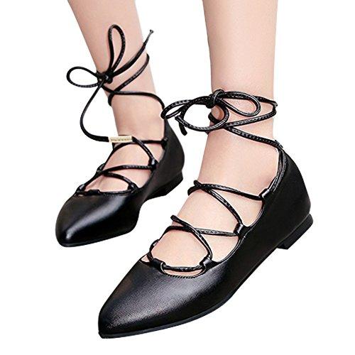 Charme Voet Dames Puntschoen Veterschoenen Zwart