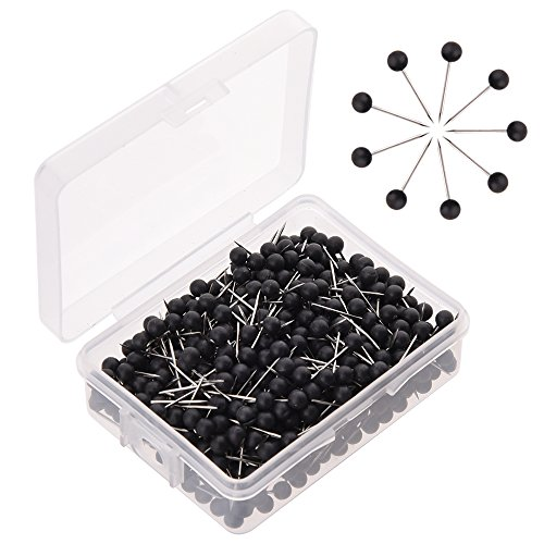 WXJ13 Map Tacks Pins Push Pin 1/8 Inch Black Round Plastic Head with Steel Needle Point, 600 Pieces