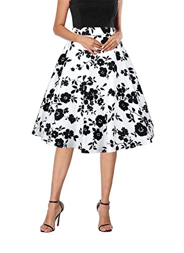 Yanmei Women's 1950s Vintage Floral Print Skirt Knee Length Holiday Skirt White Small 1086-9 by Yanmei