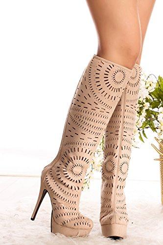 Lolli Couture Ritaglio Posteriore Cerniera Piattaforma Stivali Tacco Alto 6 Nude