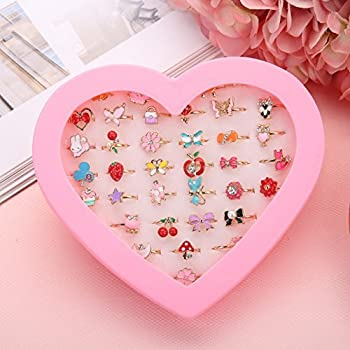 Fineder 36pcs Little Woman Adjustable Rings in Field, Kids Youngsters Jewellery Rings Set with Coronary heart Form Show Case, Woman Fake Play and Costume up Rings, Christmas present for Youngsters
