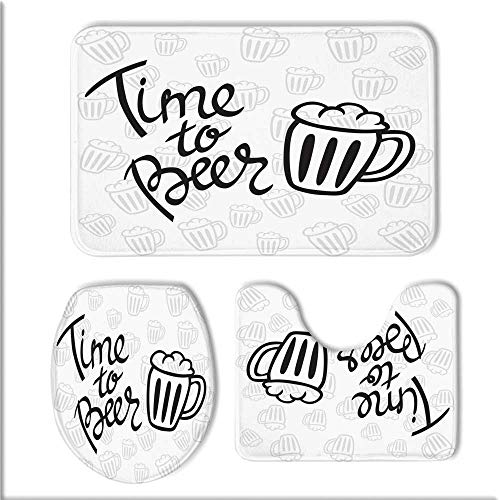 TecBillion Man Cave Decor 3 Piece Non Slip Bath Rug Set,Time to Beer Quote Cartoon Style Hand Drawn Mugs Foamy Lager Ale for Bathroom,One Size