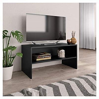 "PROGLEAM Entertainment Center & TV Stand, TV Cabinet Black 31.5""x15.7""x15.7"" Chipboard"