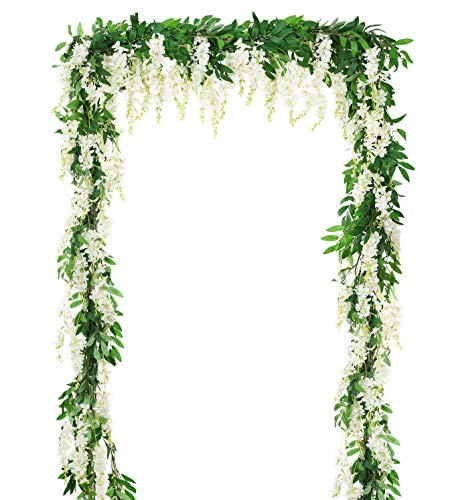 - DearHouse 2Pcs 6Ft/Piece Artificial Flowers Wisteria Garland Artificial Wisteria Vine Hanging Flower Greenery Garland for Home Garden Outdoor Wedding Arch Floral Decor (White)