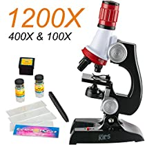 AMSCOPE-KIDS Student Beginner Microscope With LED,100X/400X/1200X Magnification,Includes Accessory Set and Box-red