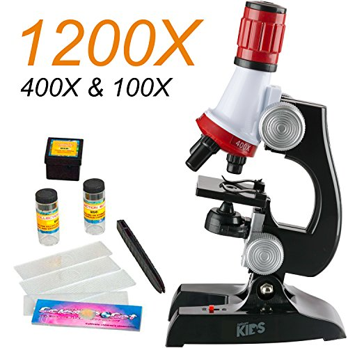 AmScope 100X-1200X LED Kids Beginner Microscope Toy Set + Slides Preparation Kit