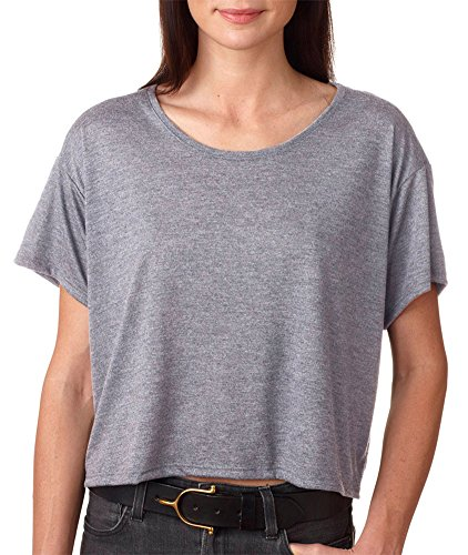 Bella + Canvas Ladies' Flowy Boxy T-Shirt, Athletic Hthr, - Boxy Sheer
