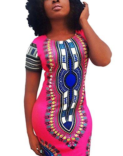 Yuncai Donna Bodycon Maniche Corte Tradizionale Africano Stampato Dashiki Vestito Rose