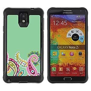 "Pulsar iFace Series Tpu silicona Carcasa Funda Case para SAMSUNG Galaxy Note 3 III / N9000 / N9005 , Indian Diseño floral verde rosada minimalista"""