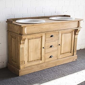 Waschtisch antik küche  Waschtisch antik braun Massivholz, Doppelwaschtisch, Landhausstil ...
