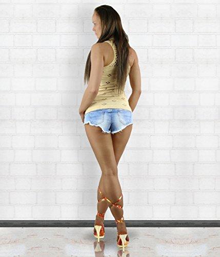 Jiahaodi - Camiseta sin mangas - Chaleco - Cuello redondo - para mujer Beige