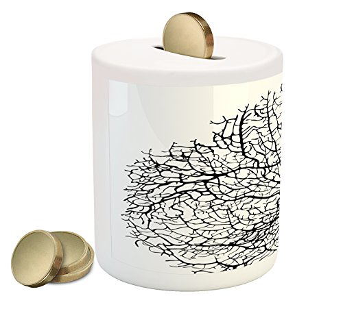 Underwater Branches (Nature Piggy Bank by Lunarable, Silhouette of Twisted Coral Reef Branches in Minimalist Tones Underwater Design, Printed Ceramic Coin Bank Money Box for Cash Saving, Black White)