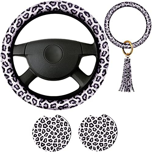 4 Pieces Leopard Print Car Accessories Set, Leopard Steering Wheel Cover, Leopard Car Coasters and Leopard Keyring Bracelet for Car, Truck, SUV (White)
