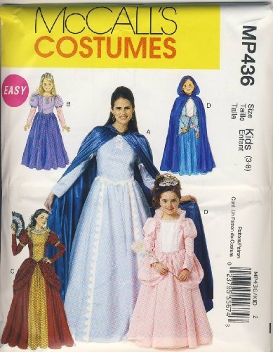 McCall Sewing Pattern MP436 (M6420) - Use to Make - Easy Kids Renaissance / Medieval / Princess Costumes - Sizes 3-8