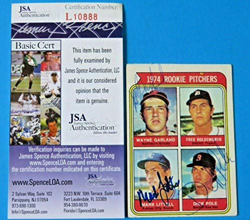 1974 TOPPS Mark Littell/Wayne Garland/Dick Pole SIGNED CARD ~ L10888 - JSA Certified - Baseball Slabbed Autographed Cards ()