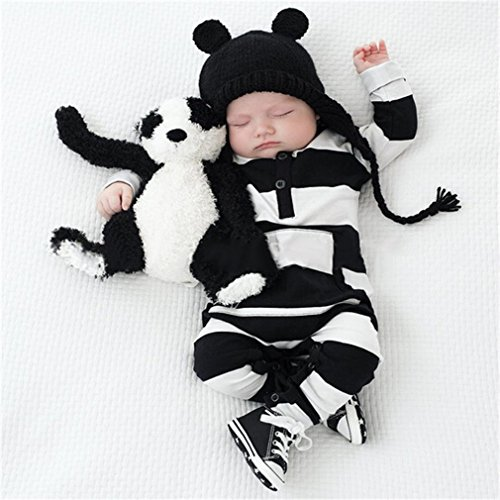 Meolin Baby Boy Girl Soft Cotton Striped Romper Bodysuit Outfit Clothes,Black and white -