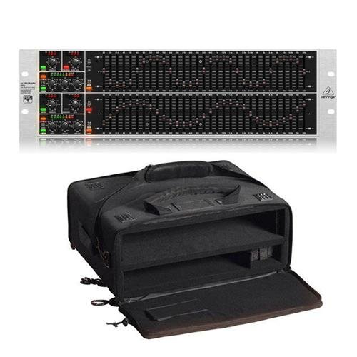 Behringer ULTRAGRAPH PRO FBQ6200HD High-Definition Dual Channel 31-Band Stereo Graphic Equalizer with FBQ Feedback Detection System, with Gator Cases GSR-2U Studio 2 Go Carrying ()