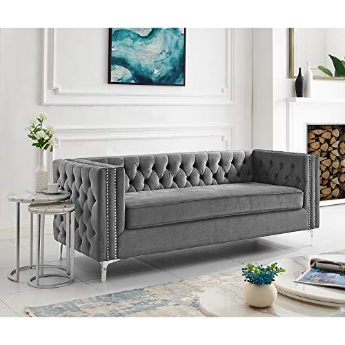 Giovanni Grey Velvet Sofa (Settee Daybed)