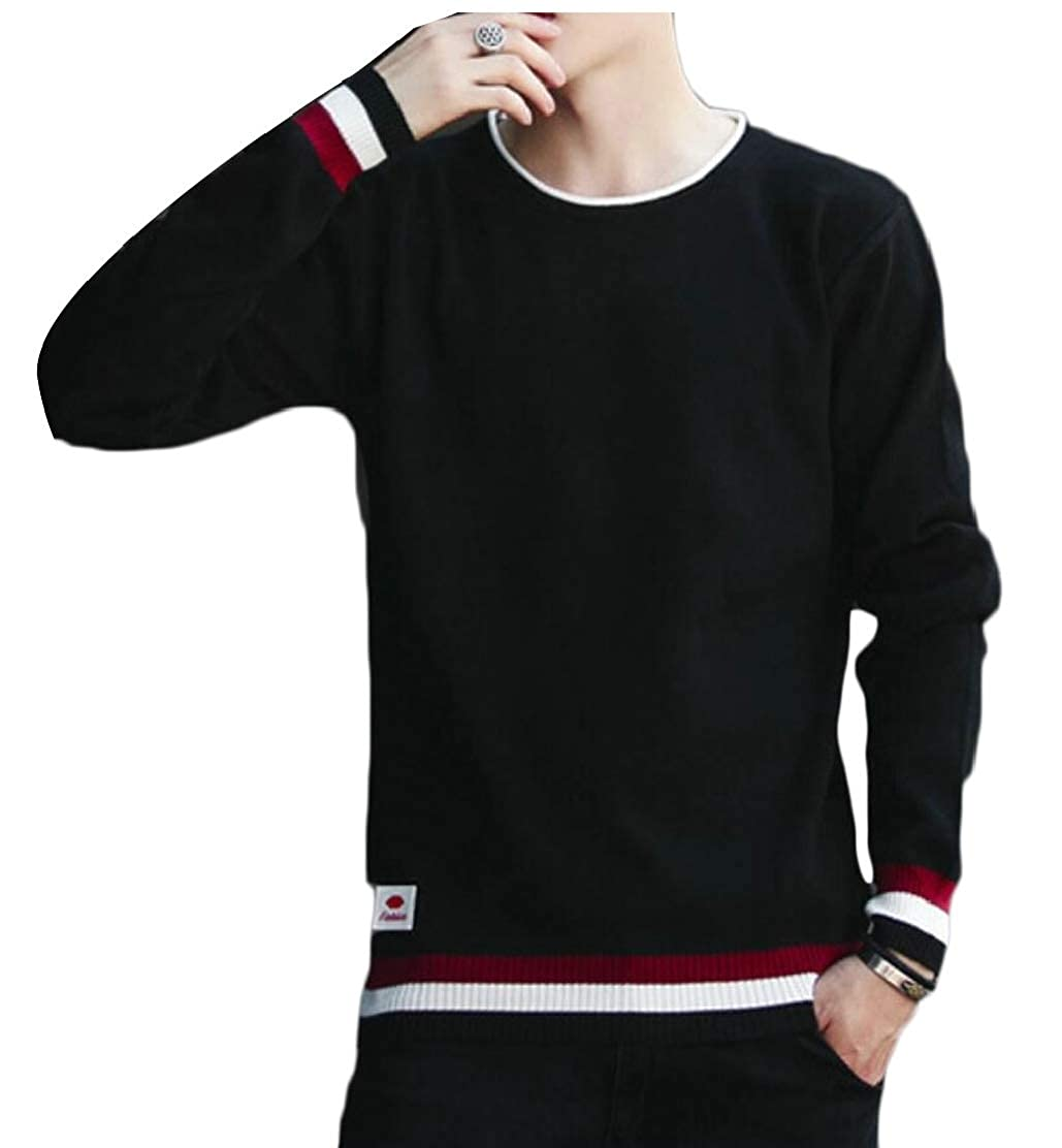 UNINUKOO Unko Mens Fashion Patchwork Crew Neck Knit Pullover Sweaters Jumper