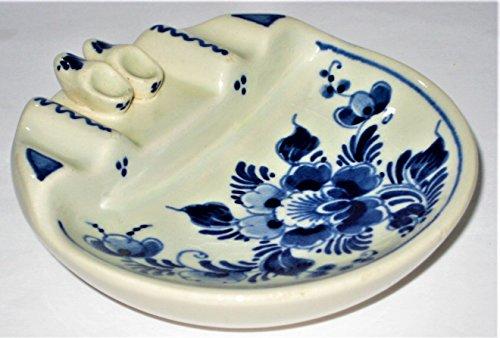 Delft Vintage Holland Hand Painted Porcelain Floral & Shoes Pattern 3 3/4 Inch (Holland Floral Vase)