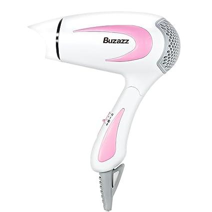 Buzazz Secadores de pelo de viaje profesional iónico con mango plegable ,boquilla concentradora y botón