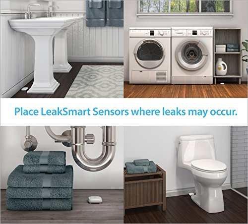 "Water Leak Detection Starter Kit by leakSMART includes 3/4"" Automatic Water Shutoff Valve, Water Leak Sensor, and Smart Hub"