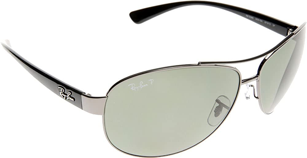 bb49cfeb5d0 Amazon.com  Ray-Ban RB3386 RB3386 Sunglasses Gunmetal   Polar Green 67mm   Clothing
