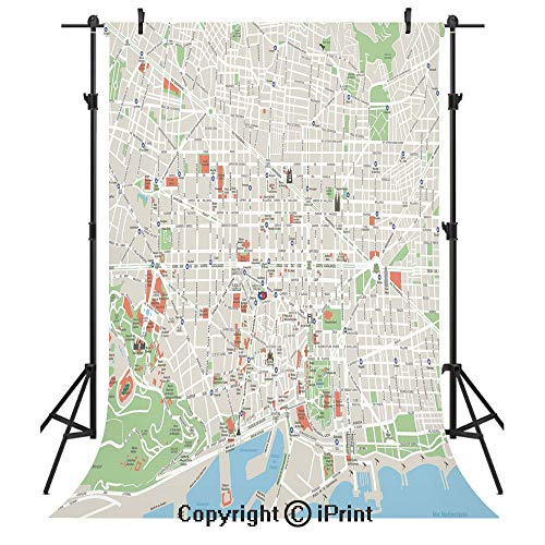 Map Photography Backdrops,Map of Barcelona City Streets Parks Subdistricts Points of Interests Decorative,Birthday Party Seamless Photo Studio Booth Background Banner 5x7ft,Beige Lime Green Light Blue
