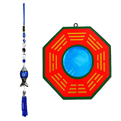Ratnatraya Combo of Feng Shui Chinese Concave Bagua Mirror Wall/Door Hanging and Evil Eye Fish Car/ Wall Decor For Positive Energy | Protection For Home, Office, (Carved Concave Design)