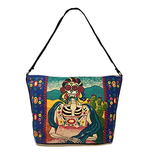 SpiritStar Sugar Skull Purse: Day of the Dead Inspired Daily Travel Bag Made with 100% Washable Cotton (Artista)
