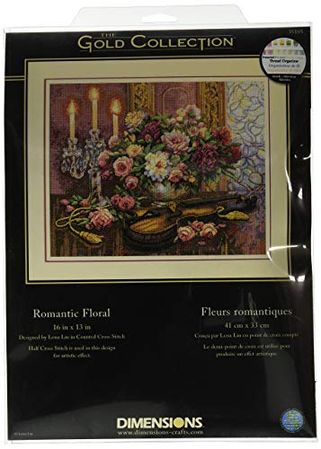 Floral Cross Kit - Dimensions Gold Collection Counted Cross Stitch Kit, Romantic Floral, 14 Count Beige Aida, 13'' x 16''