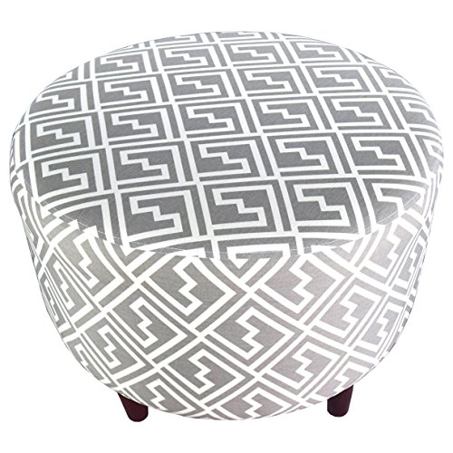 MJL Furniture Designs Sophia Collection Fabric Upholstered Round Footrest Ottoman with Round Espresso Finished Legs, Shakes Series, Storm by MJL Furniture Designs