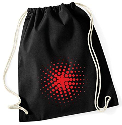 Yute bolsa de deporte bolsa bolsa de deporte bolsa de tela bolsa funda de algodón Mochila con cordón Cotton bordar puntos de color (Diseño 51, Negro)