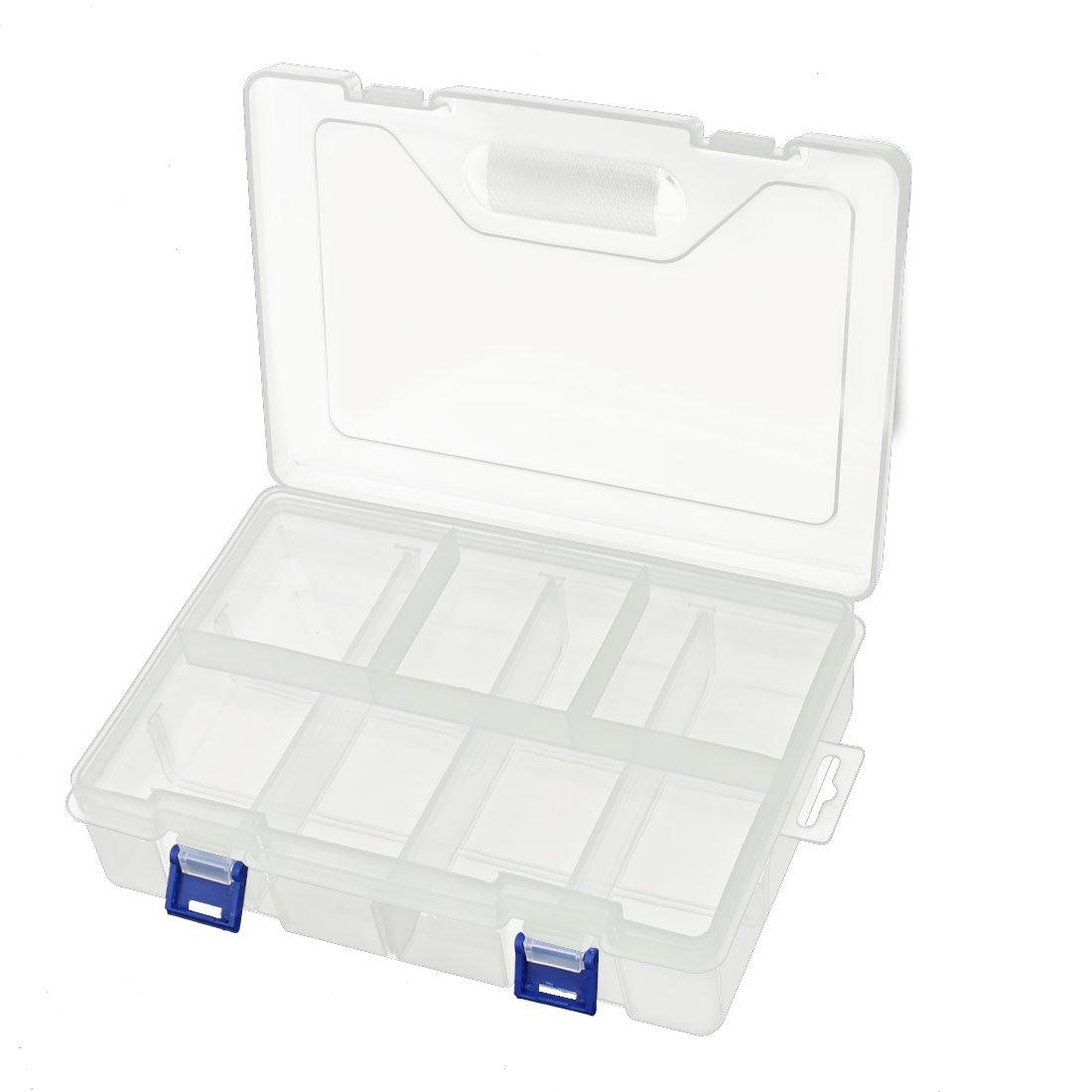 uxcell 245mmx157mmx57mm 8 Slots 2 Buckle Component Storage Organizer Case DIY Tool