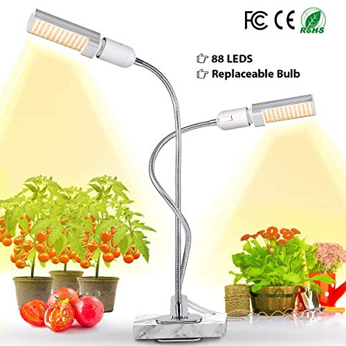 LED Grow Light for Indoor Plant, 45W Full Spectrum Sun Plant Light, Dual Head Gooseneck Grow Lamp with Replaceable Bulb, Double Switch, Professional for Hydroponics Greenhouse Gardening by Jasius ()
