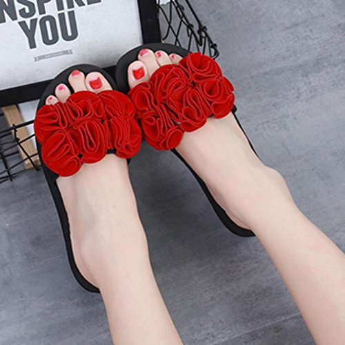 Sandals Red Flower Shoes Slipper Flops Sandals Beach Summer Flat Womens Flip Fashion Inkach Thong w6OnSq8O