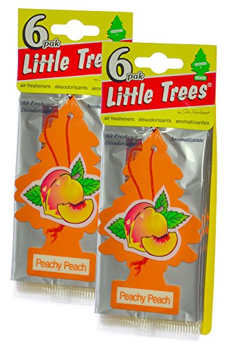Little Trees Cardboard Hanging Car, Home & Office Air Freshener, Peachy Peach (Pack of 12)