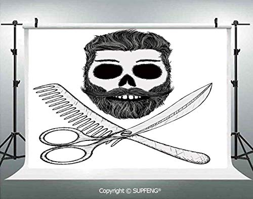 Background Hipster Skull with Hairstyle Beard and Mustache Comb and Scissors Creepy Retro 3D Backdrops for Interior Decoration Photo Studio Props -
