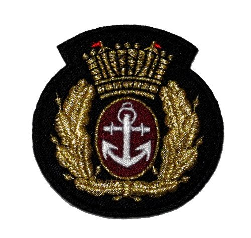 Gold Olive Branch Anchor Crown Marine Sailor Badge DIY Applique Embroidered Sew Iron on Patch AC-002]()